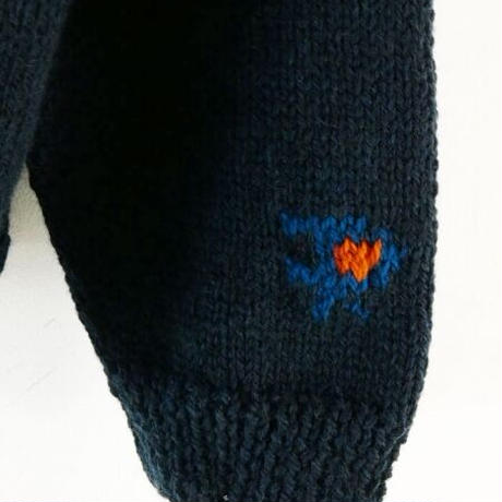 HAND KNITTING COLLEGE SWEATER (NAVY)