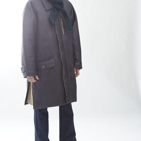 VINTAGE WASH VEGAN LETHER PADDING COAT(DARK BROWN)