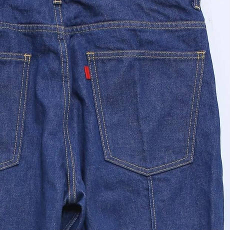 SOLID CREASE FLARE JEANS   (BLUE)