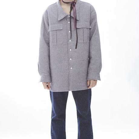 HOUNDS TOOTH PADDING SHACKET(PIRPLE)