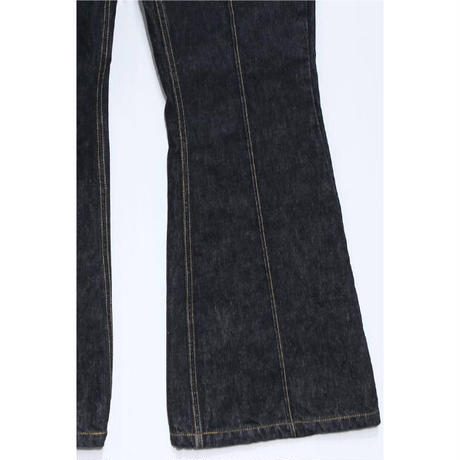 SOLID CREASE FLARE JEANS   (BLACK)