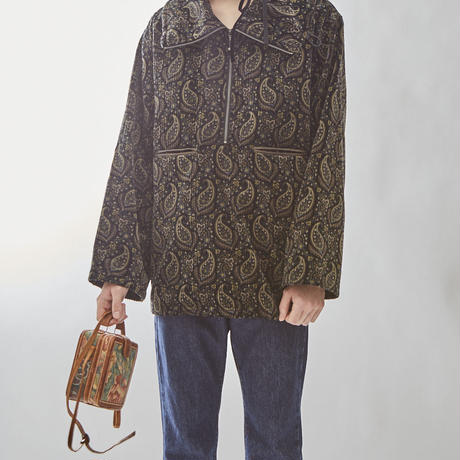 PAISLEY ZIP PULLOVER(BLACK)