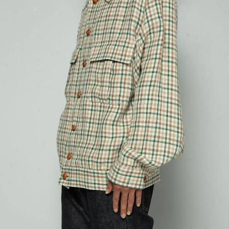FRENCH LINEN DUNGAREES JACKET  (BEIGE)