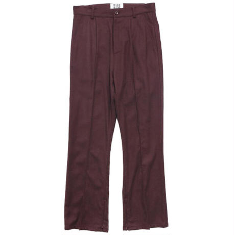 SOLID CREASE SIDE ZIP FLARE TROUSERS(PURPLE)