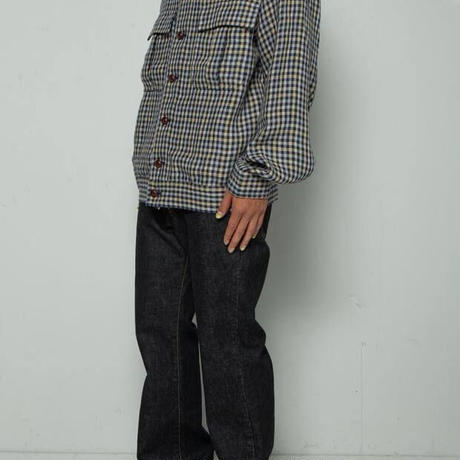 FRENCH LINEN DUNGAREES JACKET  (NAVY)