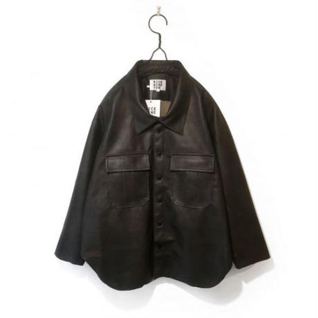 SEMI SUEDE OFF NECK SHIRT  (DARK BROWN)