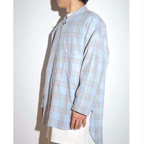 SCANTY SLEEVE WIDE CHECK SHIRT (BLUE)