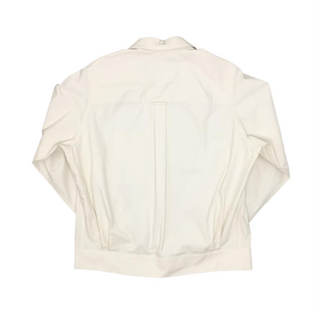 OPEN COLLAR PEARL BUTTON DOWN SHIRT   (OFF WHITE)