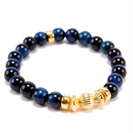 BLUE TIGER EYE & GOLD BALL BRACELET -8mm-