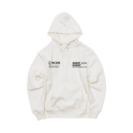 ESSENTIAL MUSIC PRESENTS ''NIGHT FLIGHT'' HOODIE  by RCDR / WHITE