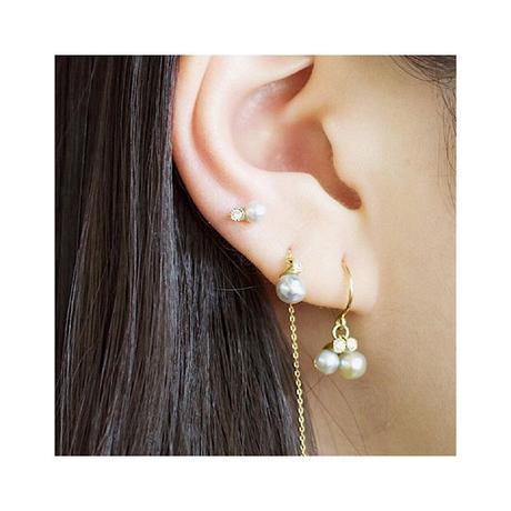 Baby akoya pearl dia chain earrings