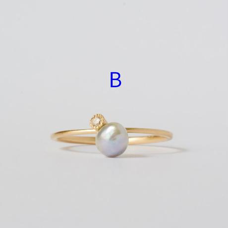 Baby akoya pearl dia ring