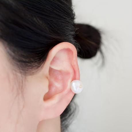 Petal pearl dia clip earrings S