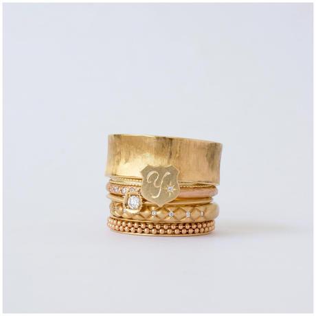 Alphabet ring shield YG