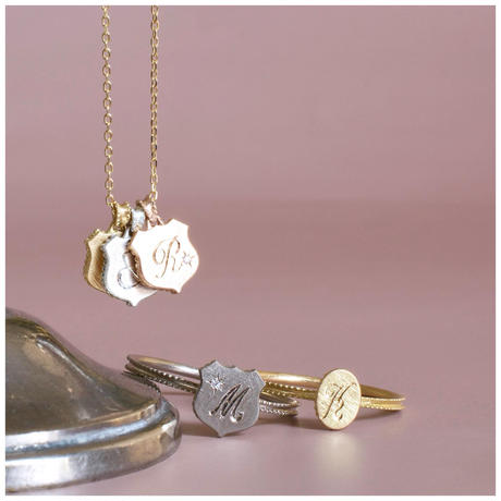 Alphabet charm shield silver