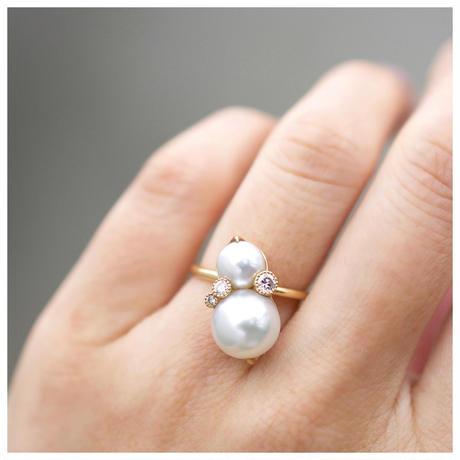 South sea twin pearl dia ring