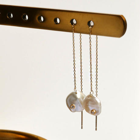 Petal pearl dia chain earrings S