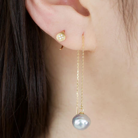 Baroque akoya pearl chain earrings