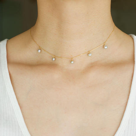 Baby akoya pearl station necklace 5