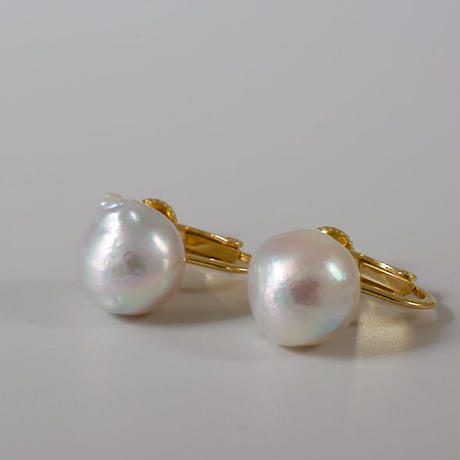 Baroque akoya pearl clip earrings