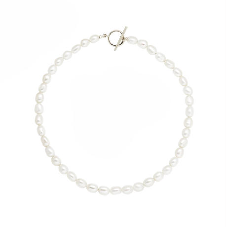 White Pearl Necklace  P40-5-WH