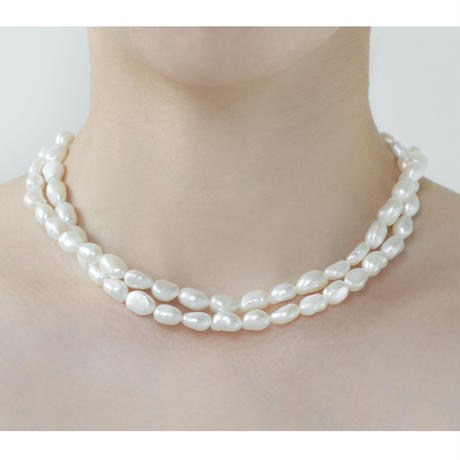 White Baroque Pearl Long Necklace P80-WH