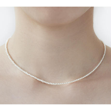 White Keshi Pearl Necklace  P38-1-WH-K