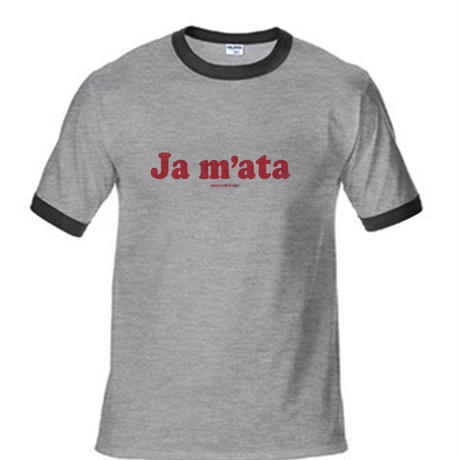 """Ja mata""リンガー T-shirt  (染み込みプリント) GRY/BLK"