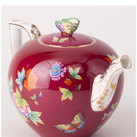 ヘレンドクイーンビクトリア/濃い赤紫・ティーポット