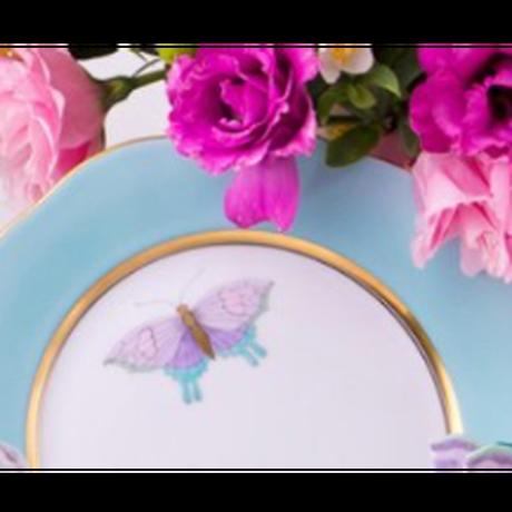 ヘレンドティーセット/2人用のケーキプレート付き/ヘレンドロイヤルガーデンターコイズバタフライ