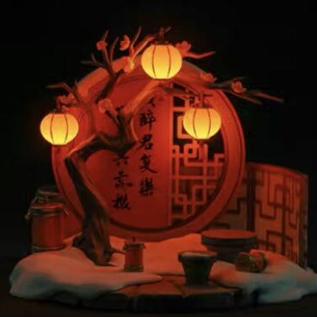 魔道祖師 ★ フィギュア用・立体背景《立体背景板(映雪花千树)》【予約商品・11月以降の発送】