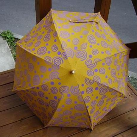 日傘 カラシ色 ぐるぐる