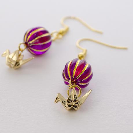 折り鶴とぼんぼりのピアス(紫)