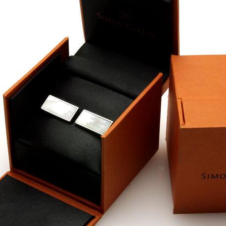 サイモンカーター - 英国製 カフリンクス ウェッジ 白蝶貝 267026