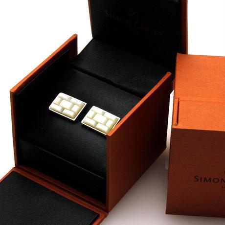 サイモンカーター - 英国製 カフリンクス タイル 白蝶貝 267086