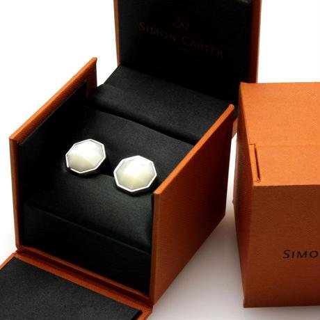 サイモンカーター - 英国製 カフリンクス オクタゴン ホワイト 267018
