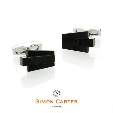サイモンカーター - 英国製 カフリンクス デコ・キーストーン オニキス 267078