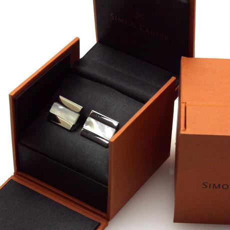 サイモンカーター - 英国製 カフリンクス ハーフバレル 白蝶貝 267039