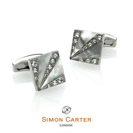 サイモンカーター - 英国製 カフリンクス デコ・サンバースト 白蝶貝 267079