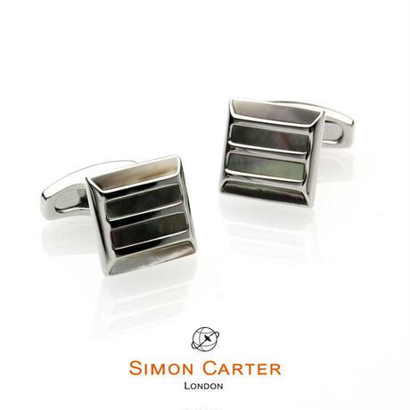 サイモンカーター - 英国製 カフリンクス ストーングリル 黒蝶貝 267093