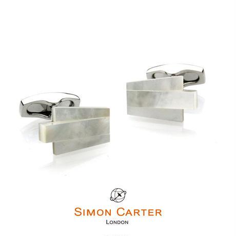 サイモンカーター - 英国製 カフリンクス デコ・キーストーン 白蝶貝 267076