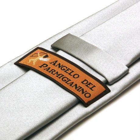 アンジェロ -「 愛が伝わる」天使のネクタイ 京都西陣産生地 シルクサテン シルバーカラー AGS06