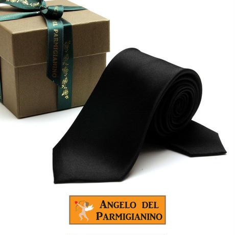 アンジェロ -「 愛が伝わる」天使のネクタイ 京都西陣産生地 シルクサテン ブラックカラー AGS08