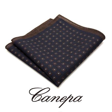 カネパ - イタリア製 ポケットチーフ ネイビー ウール&シルク WS-01