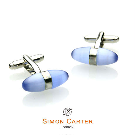 サイモンカーター - 英国製 カフリンクス キャッツアイ・エッグ ブルー 267016