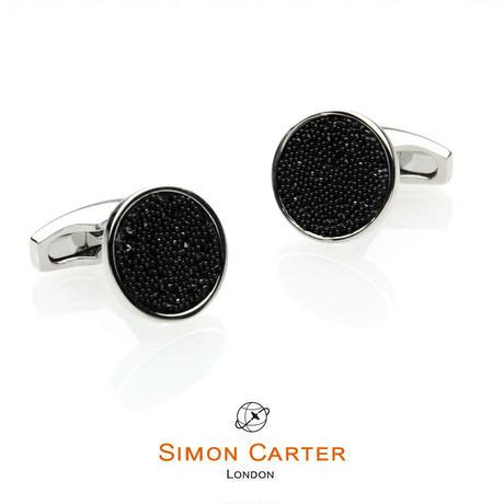 サイモンカーター - 英国製 カフリンクス クリスタルファブリック ブラック 267032