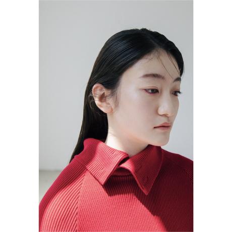 〔plain〕 Rib knit dress 〔red,gray〕