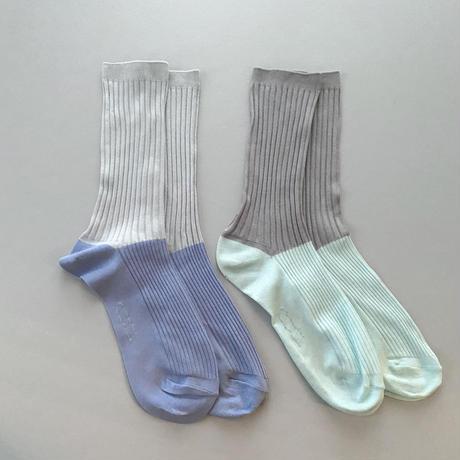 9.〔plain〕 two tone rib socks