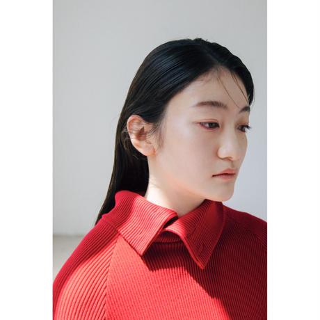 6A. 〔plain〕 Rib knit dress 〔red,gray〕