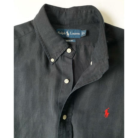 "1990s Ralph Lauren ""CLASSIC FIT"" Black Linen/Silk Shirt"